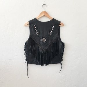 Vintage Tops - Vintage Black Beaded & Fringe Leather Moto Vest